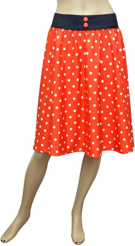 Grace Diva Polka Print Women's Pleated Orange, White Skirt