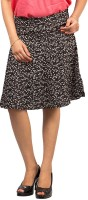 Goodwill Impex Floral Print Womens A-line Black Skirt