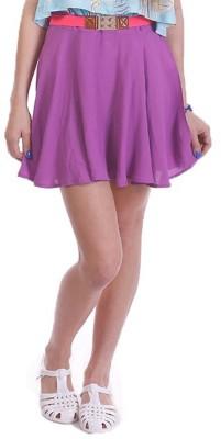 Paint It Red Solid Women's Regular Purple Skirt