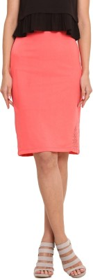 Leo Sansini Solid Women,s Regular Pink Skirt