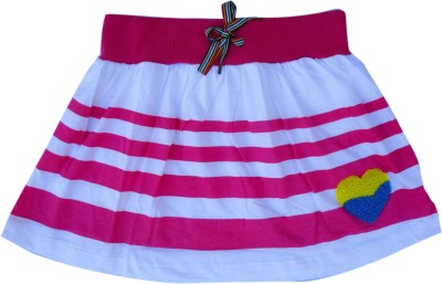Garlynn Printed Girl's A-line White, Pink Skirt