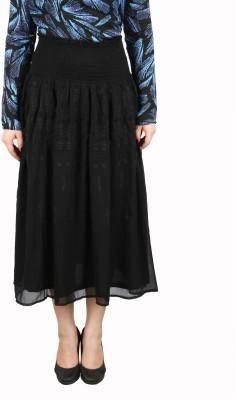 FASHIONHOLIC Solid Women's Straight Black Skirt