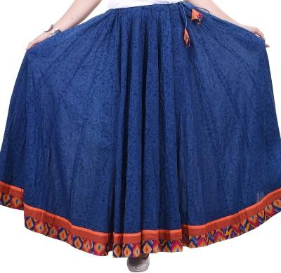 chidiyadesigns Printed Women's Gathered Dark Blue Skirt