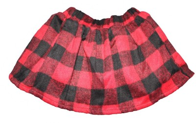 Habooz Checkered Girl's A-line Black, Red Skirt