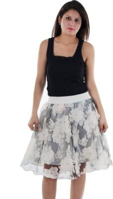 Gwyn Lingerie Printed Women's Gathered White Skirt