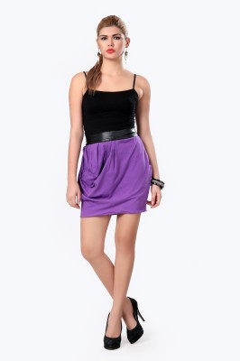 Glam & Luxe Solid Women's Pleated Purple Skirt