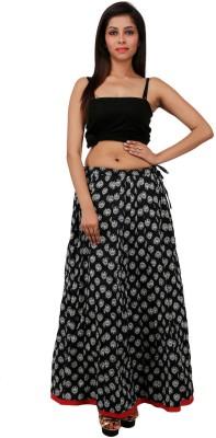 Sunshine Printed Women's A-line Black Skirt