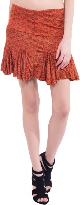 Tuntuk Printed Women's A-line Orange Skirt