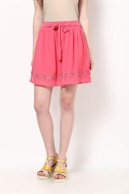 Honey By Pantaloons Solid Women's Gathered Pink Skirt at flipkart