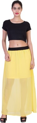 Curvyy Solid Girl's A-line Yellow Skirt
