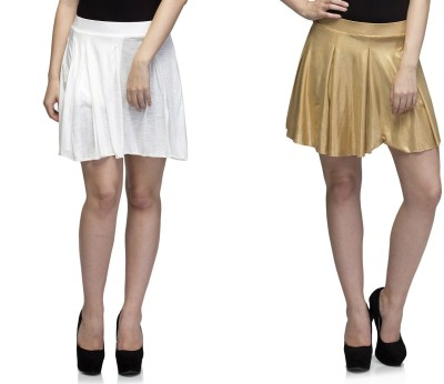 Dee Fashion House Solid Women's Pleated White, Gold Skirt