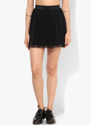 Only Solid Women's A-line Black Skirt at flipkart