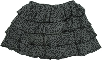 Chemistry Girl Printed Girls A-line Black, Grey Skirt at flipkart