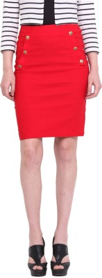 Ridress Solid Women's A-line Red Skirt