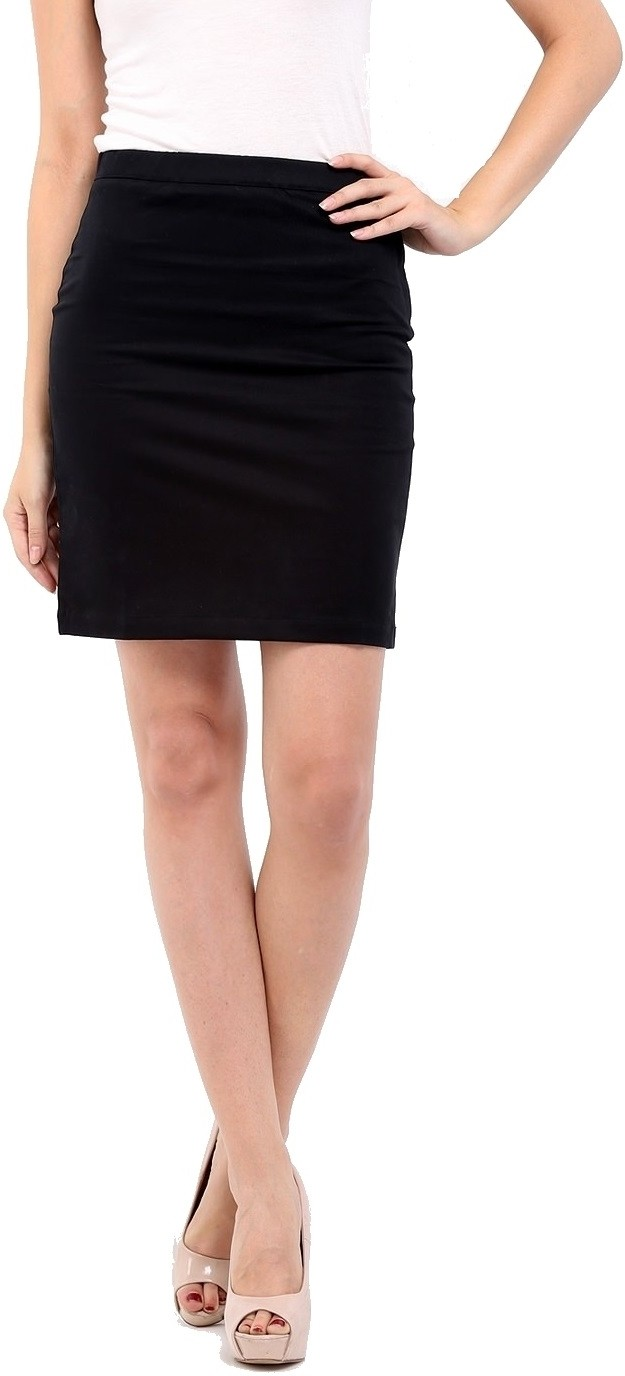 Cottinfab Solid Womens Straight Black Skirt