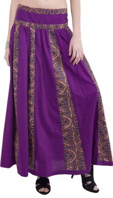 Tuntuk Printed Women's A-line Purple Skirt