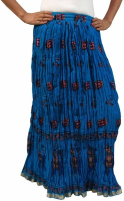 Saffron Craft Printed Women's Gathered Blue Skirt