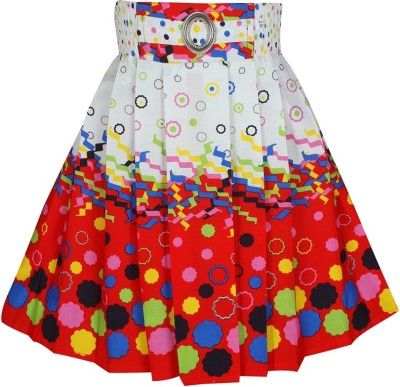 Jazzup Printed Girl's Gathered White, Red Skirt