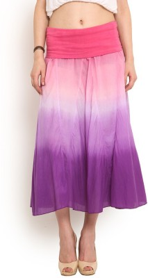 Trend Arrest Solid Women,s Gathered Pink Skirt