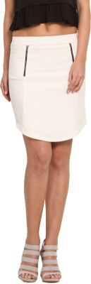 Leo Sansini Solid Women,s Regular White Skirt