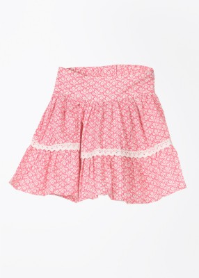 Cherokee Printed Girl's Gathered White, Pink Skirt