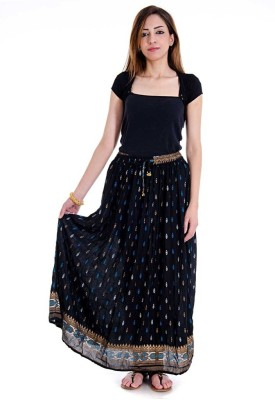 Pioneerpragati Printed Women's Regular Black Skirt