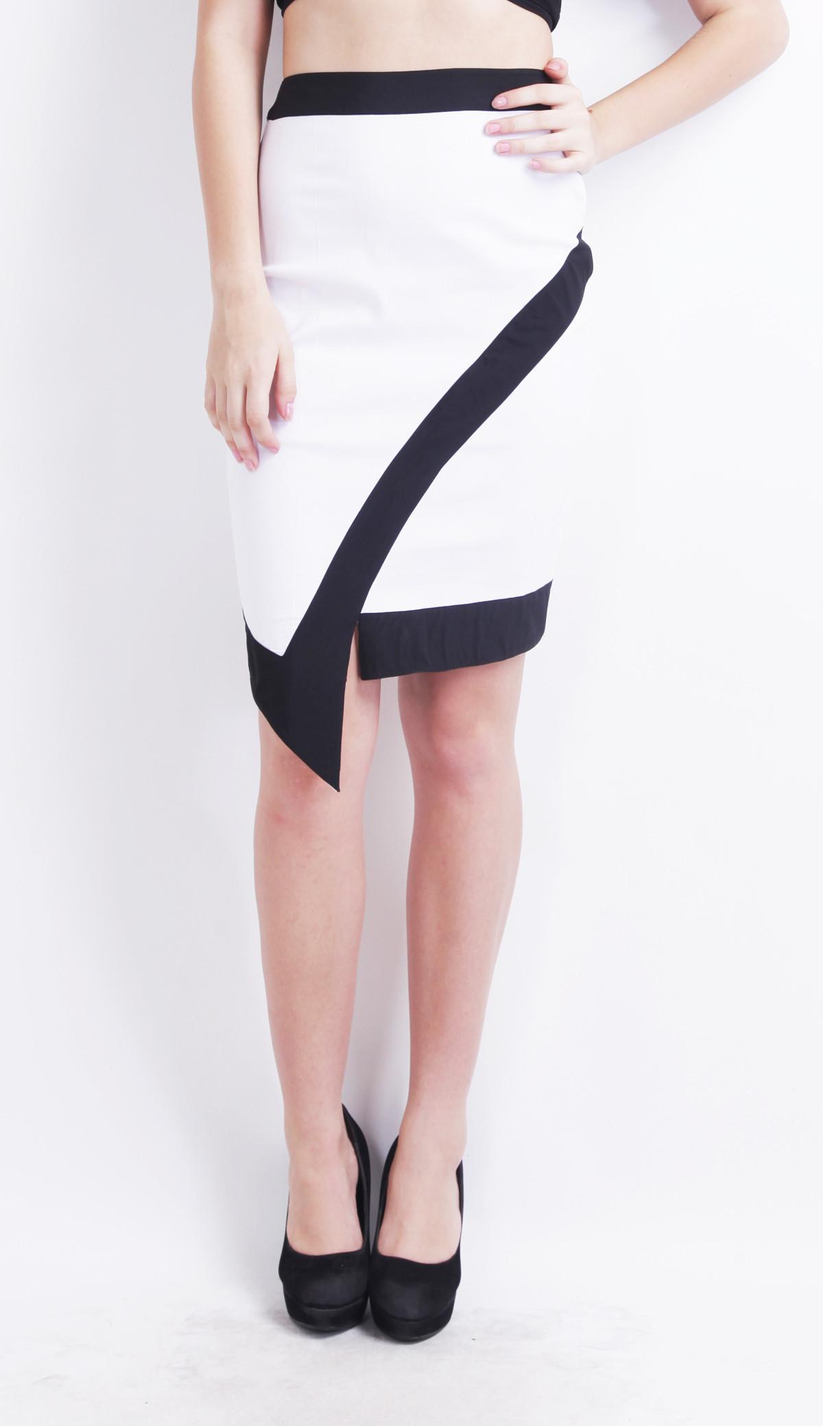 Ridress Solid Womens Asymetric White, Black Skirt