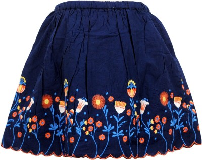 Bella Moda Embroidered Girl's Gathered Blue Skirt