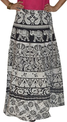 Marusthali Printed Women,s Wrap Around White Skirt