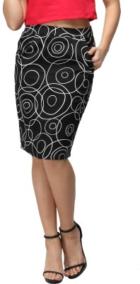 Vodka Fashion India Geometric Print Women's Pencil Black Skirt