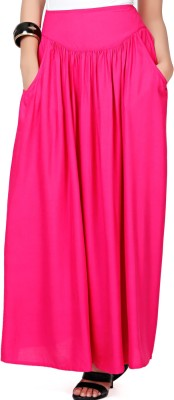 Eavan Solid Women's Gathered Pink Skirt at flipkart