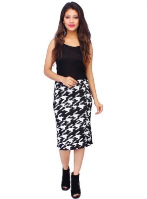 Bonne Vie Houndstooth Women's Pencil Black Skirt