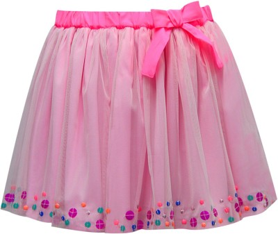 The Cranberry Club Embellished Girl's Gathered Pink Skirt