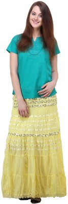 Lalana Solid Women's Regular Yellow Skirt