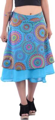 Indi Bargain Geometric Print Women's A-line Light Blue Skirt