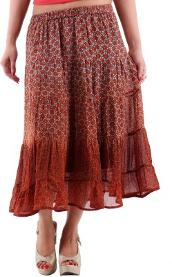 Goodwill Impex Floral Print Women's A-line Brown Skirt