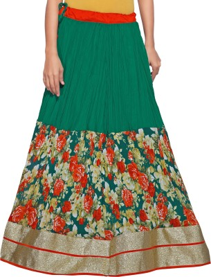 Admyrin Printed Women's Wrap Around Dark Green Skirt