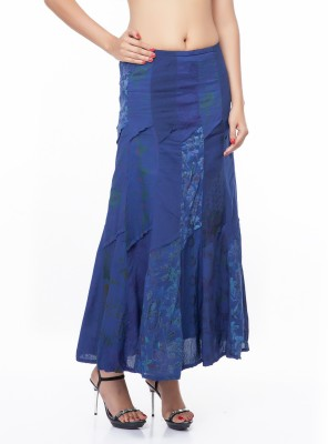 Eurodif Design Printed Women's Wrap Around Blue Skirt