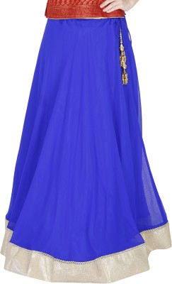 Sanchi Global Solid, Embellished Women's Regular Blue Skirt