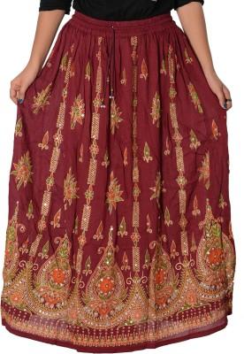Fashionmandi Printed Women's A-line Maroon Skirt