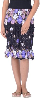 Legginstore Floral Print Women's Tiered Purple Skirt