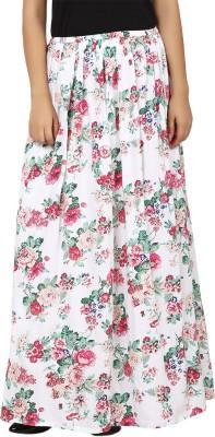 Tops and Tunics Floral Print Women's Regular White, Green Skirt