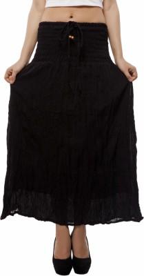 Indi Bargain Solid Women's A-line Black Skirt