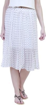 Showoff Polka Print Women's Straight White Skirt