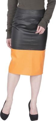 Famous by Payal Kapoor Solid Women's Pencil Black, Orange Skirt