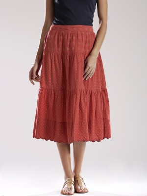 Fabindia Printed Women's A-line Red Skirt