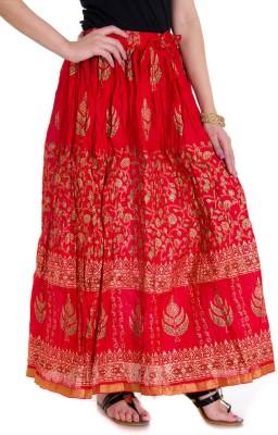 Ooltah Chashma Printed Women's Broomstick Red Skirt