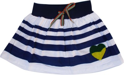 Garlynn Printed Girl's A-line White, Blue Skirt