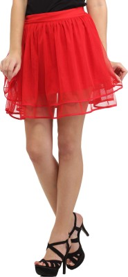 Cation Solid Women's A-line Red Skirt