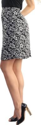 Belle Fille Printed Women's Pencil Black Skirt
